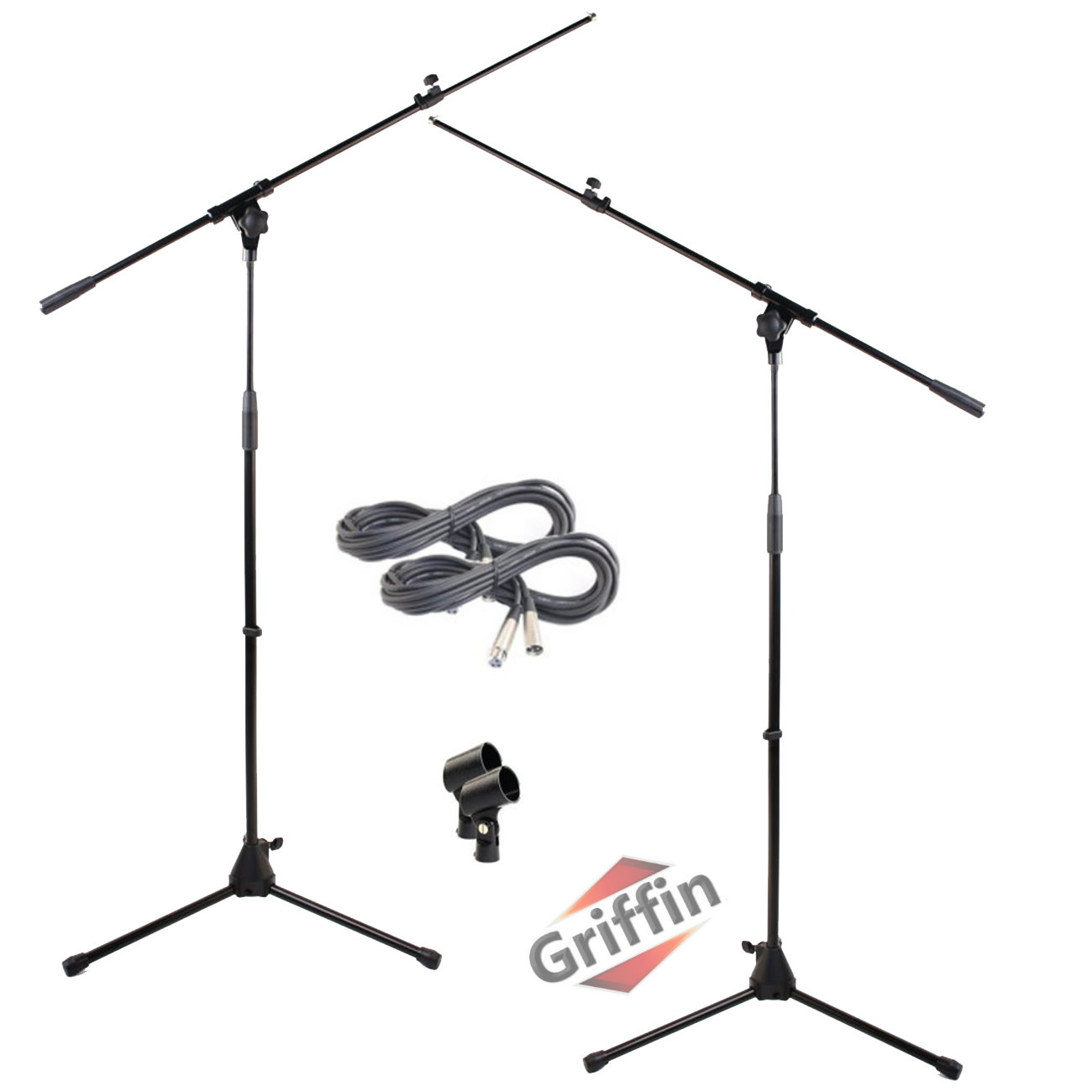 Tripod Microphone Boom Stand with XLR Mic Cable & Clip (Pack of 2) by Griffin | Telescoping Premium Quality for Studio, Karaoke, Live Performances, Conferences | 20 ft Pro Audio Mic 3-Pin Cord Patch