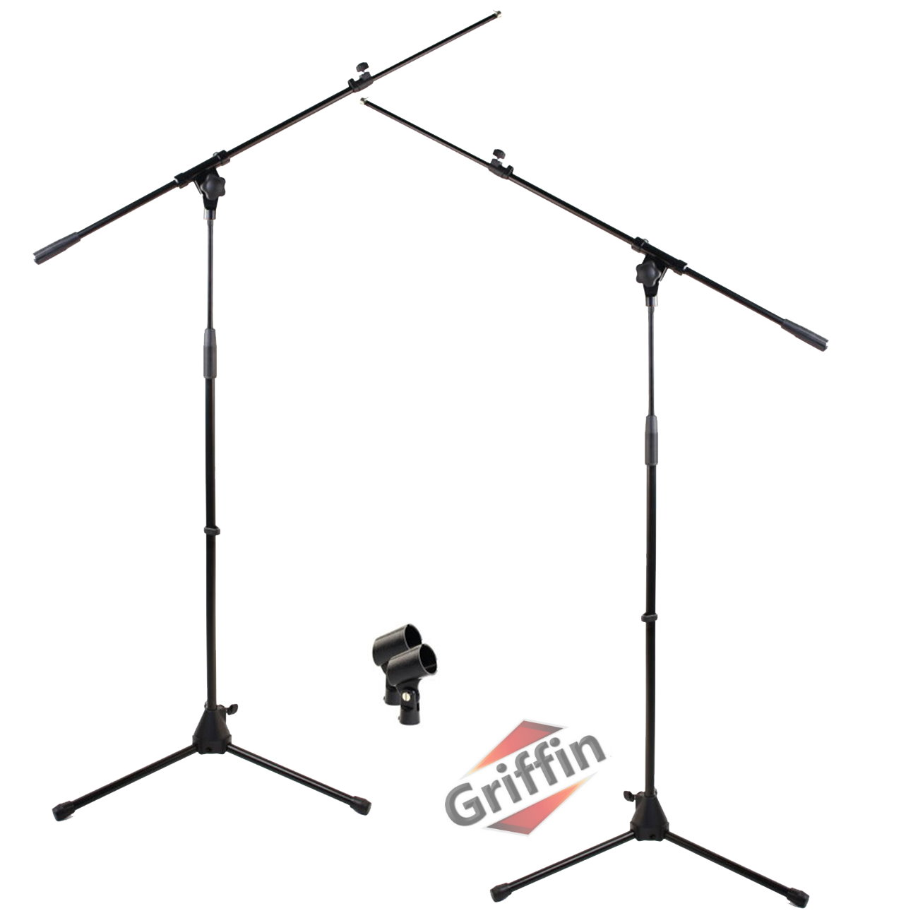 2 Pack Microphone Stand Boom Arm Holder & Mic Clip Stage Studio Tripod Griffin