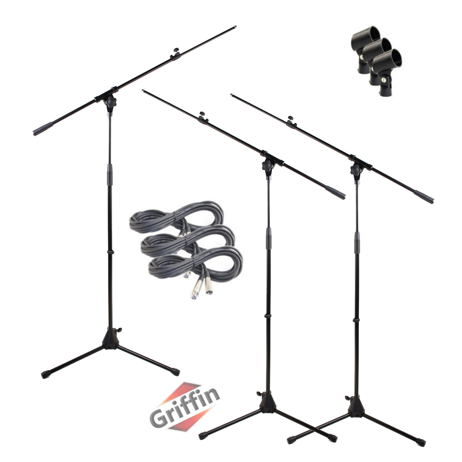 Tripod Microphone Stand Package with Microphone Cables & Mic Clips 3 Pack by Griffin