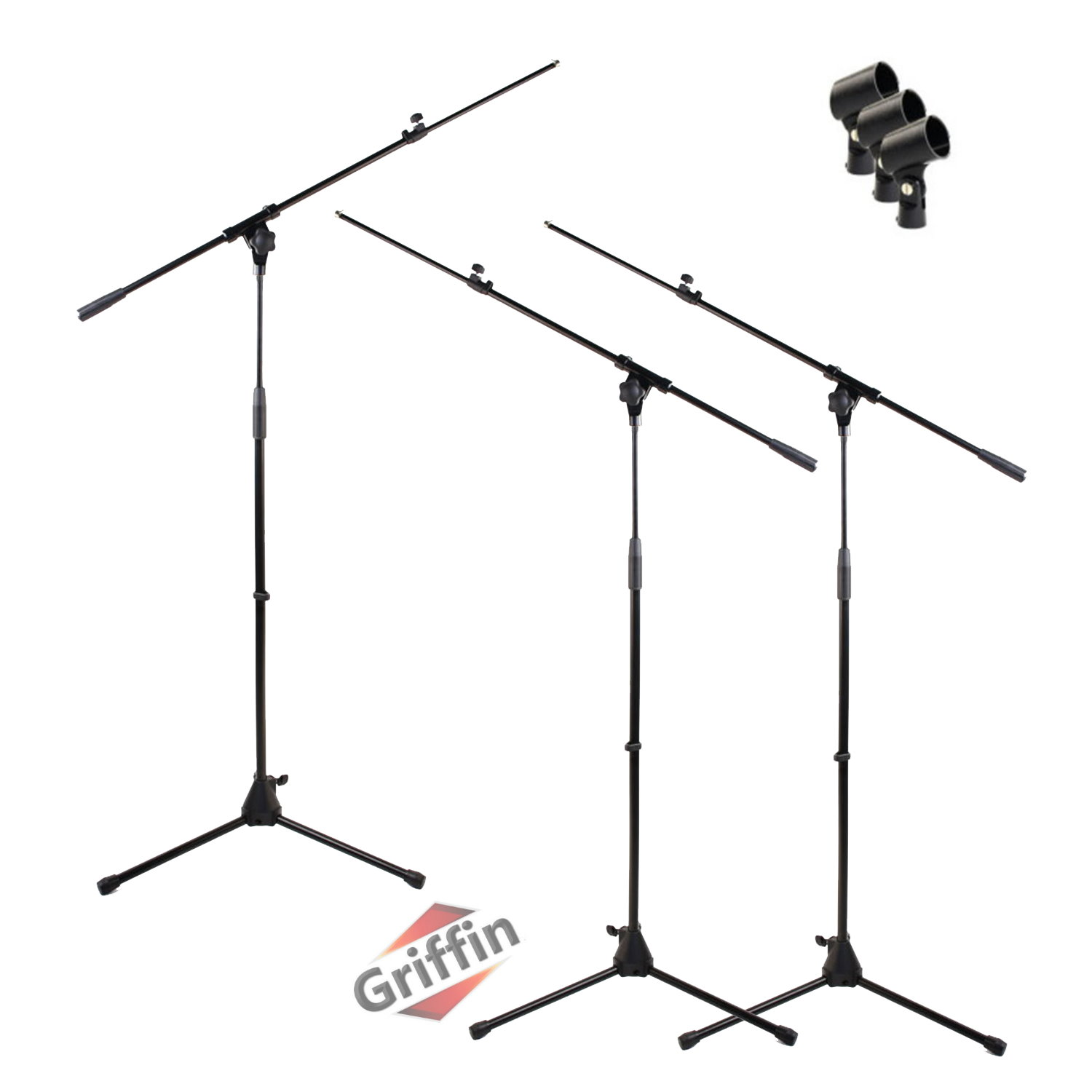 Microphone Boom Stand Package with Mic Clips 3 Studio Tripod Pack by Griffin