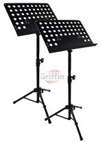 Music Stand Pack of 2 Conductor Sheet Metal Folding Deluxe Holder by Griffin