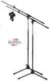 Boom Microphone Stand with Microphone Cables, Carrying Bag, & Mic Clips 2 Pack by Griffin