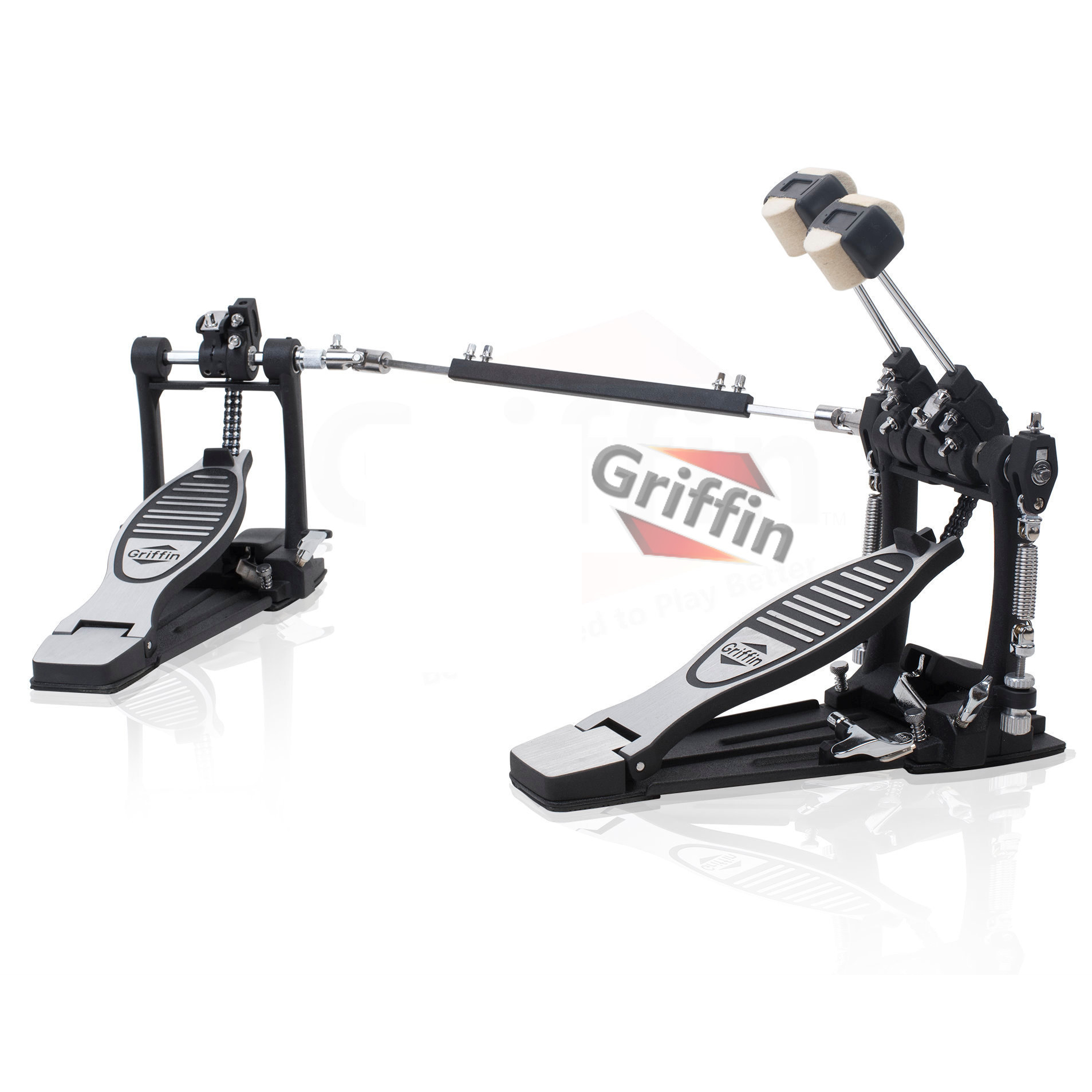 Double Kick Drum Pedal By Griffin Twin Bass Dual Chain